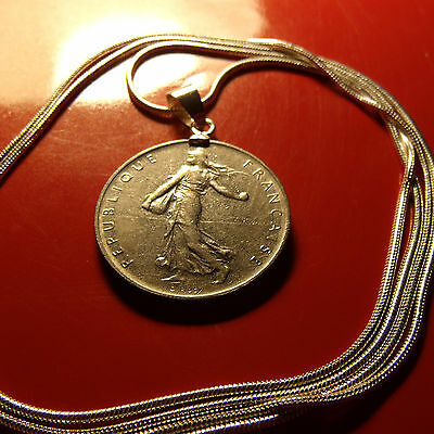 "Boho French Franc Coin Bezel Pendant on a 30"" 925 Sterling Silver Snake Chain"