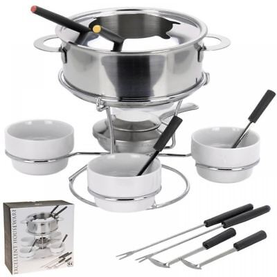 Family Size, Stainless Steel Fondue Set with Pot, Bowls, Forks, Burner Stand