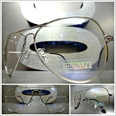 Mens or Women VINTAGE RETRO Style Clear Lens SUNGLASSES Small Silver Metal Frame