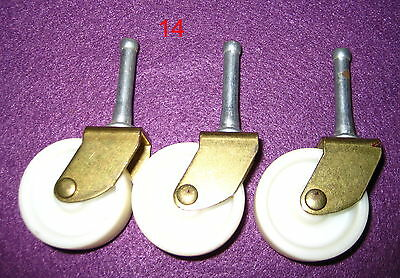 Old Antique Vintage 3 Pc Furniture White Nylon Wheel Caster Set #14