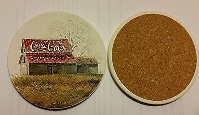 coke coca cola 4 inch absorbent ceramic coaster mint with cork backing
