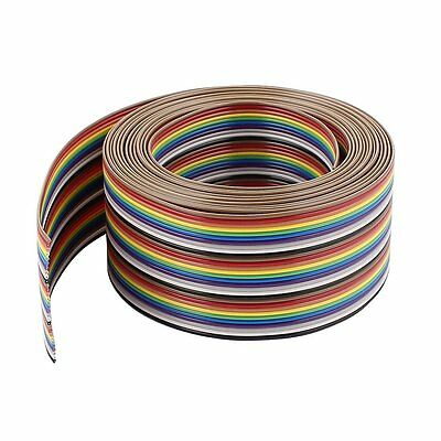 Uxcell a15030600ux0435 IDC Wire Flat Ribbon Cable 30Pin 1.27mm 10Ft Rainbow Colo