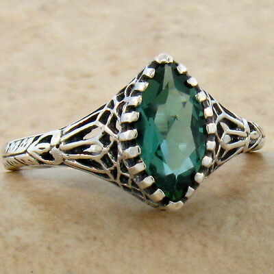 #766 GREEN LAB AMETHYST .925 STERLING VICTORIAN ANTIQUE DESIGN SILVER RING