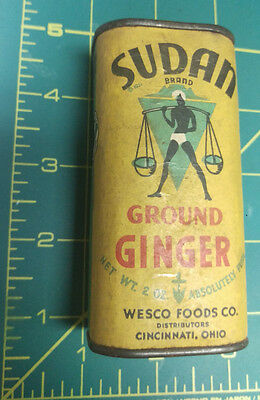 Vintage Sudan Ground Ginger - Wesco Foods - cardboard sides - metal ends - nice!