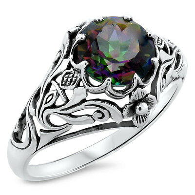Mystic Quartz Hydro .925 Sterling Antique Nouveau Design Silver Ring Size 6,#768