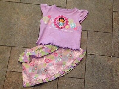 NWT Dora the Explorer purple flowers Skirt Flowers Ruffles 2 Pc Outfit 18 months