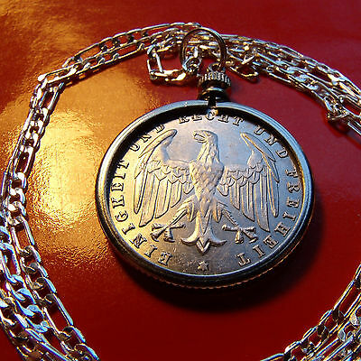 "1923 GERMAN EAGLE 500 MARK Coin Pendant on a 30"" .925 Sterling Silver Chain"