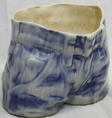 "6"" Blue Jean Denim Glazed Ceramic Bisque Planter Flower Vase Garden Home"
