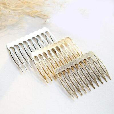 10Pcs Wholesale Gold Silver Plated Metal Hair Comb Hair Accessories DIY