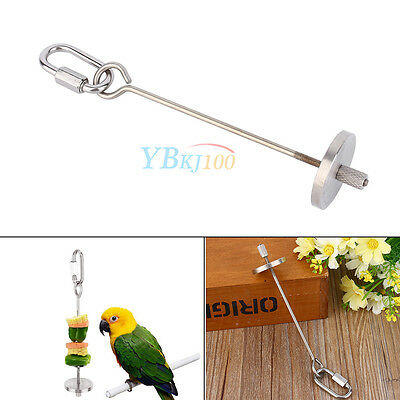 Stainless Steel Bird Parrot Budgie Food Meat Fruit Stick Spear Skewer Holder Toy