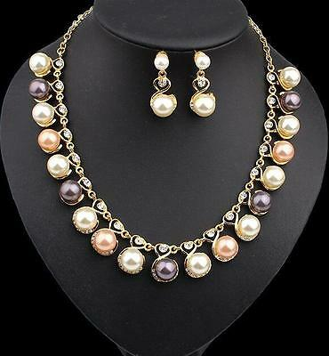 Rhinestone Pearl Jewelry set Gold Color Wedding Necklace Earring Fashion Pendant