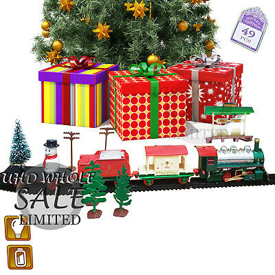 Holiday Express Christmas Train Set Snow Santa Tree Ornament Light Sounds Gift