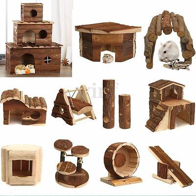 Wooden House Villa Cage Exercise Toys for Hamster Hedgehog Mouse Rat Guinea