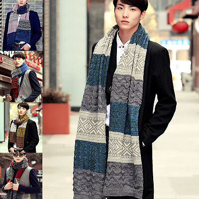 New Warm Mens Korean Stylish Casual Knitted Shawl Wrap Scarf Multi Color Scarves