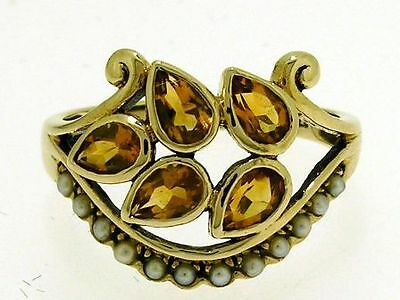 C748 GENUINE 9ct Gold NATURAL Citrine & Pearl Ring made to order in your size
