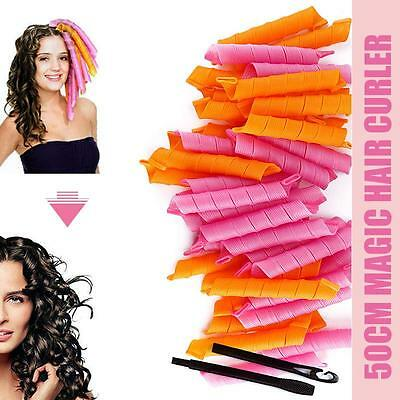40 PCS 50CM DIY Hair Rollers Curlers Magic Circle Twist Spiral Ringlets Styling