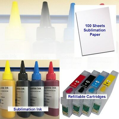 400ml SUBLIMATION INK REFILLABLE CARTRIDGE PAPER EPSON WORKFORCE WF2010W NON OEM