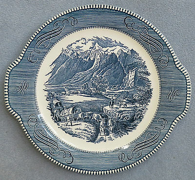 Royal China Currier and Ives Handled Cake / Sandwich Serving Plate Mountains USA