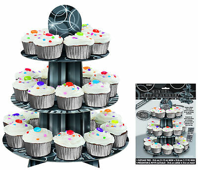 Black Glitz Cupcake Stand - Includes Stickers - 3 Tier Cake Party Muffin Fairy