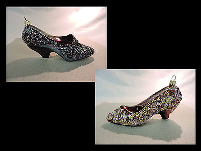 PAIR OF JEWEL CRUSTED SHOES Blown Glass Christmas Ornaments - EUC