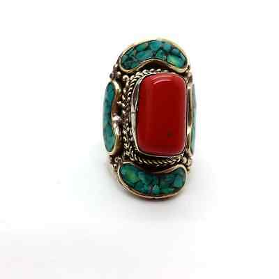 Handcrafted Nepal Tibetan Turquoise and Coral Ring Boho Chic Jewelry Size 8.25