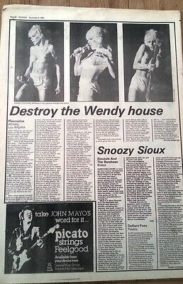 PLASMATICS WENDY O WILLIAMS LA concert review 1980 UK ARTICLE / clipping