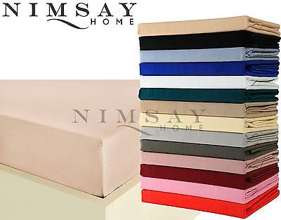 Plain Dyed PolyCotton Fitted Bottom Bed Sheet Single Double King Super King Size