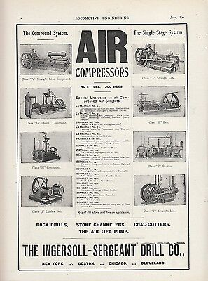 1899 Ingersoll-Sergeant Drill Ad: Air Compressors Compound & Single-Stage System