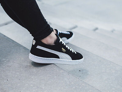 PUMA 355110-01a: Classic Suede Leather BLACK/White Retro-Hip Sneaker Youth/Women