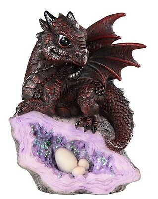 Blood Red Dragon on Purple Rock with Eggs Shell 5 Inch Figurine Statue GSC71582