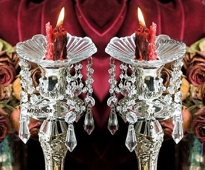 Crystal Prism Dangle Glass Bobeches Candlestick Candle Wax Drip Protector~ Set/2