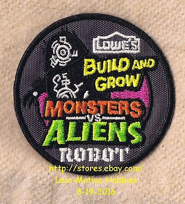 LMH PATCH Badge 2014 MONSTERS vs ALIENS ROBOT  Kids Clinic LOWES Build Grow
