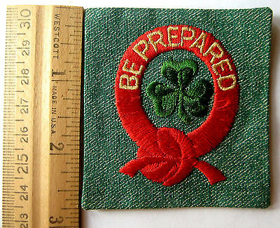 Vintage 1948-55 Girl Scout 1st FIRST CLASS BADGE Be Prepared Green Clover Patch