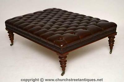 Large Antique Deep Buttoned Leather Stool Or Coffee Table