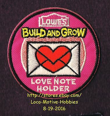 LMH PATCH Badge  2013 LOVE NOTE HOLDER Heart  Kids LOWES Build Grow Kids Clinic