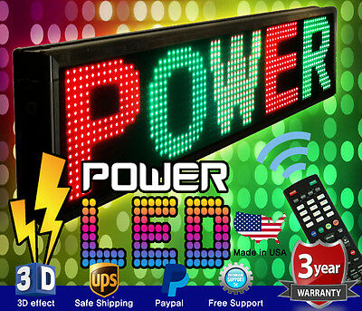 """THREE COLOR LED SIGN 15"""" x 40"""" RGY PROGRAMMABLE SCROLLING MESSAGE BOARD USA"""