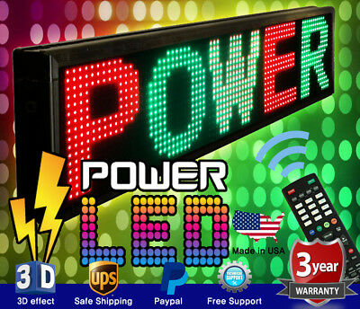 """THREE COLOR LED SIGN 19"""" x 52"""" RGY PROGRAMMABLE SCROLLING MESSAGE BOARD USA"""