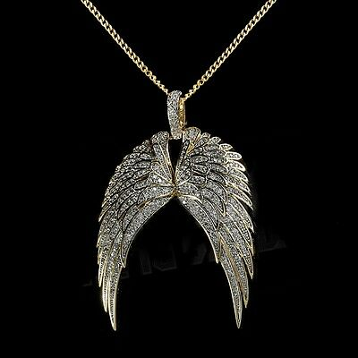 18K Gold Plated Wing Chain Iced Out Cz Hip Hop Pendant Necklace