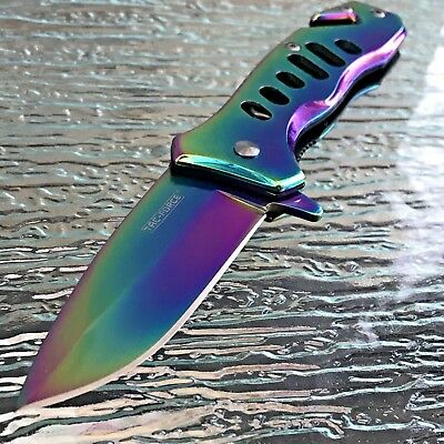 TAC FORCE SPRING ASSISTED RAINBOW EDC TACTICAL KNIFE Open Folding Pocket Blade