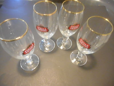 Stella Artios Gold Rimmed Chalice Glass Set Of Four