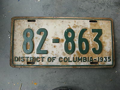 1935 35 District Of Columbia Washington Dc License Plate Nice Tag 82 863