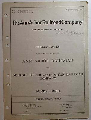 Ann Arbor Railroad 1921 Percentages Sheet - with DT&I