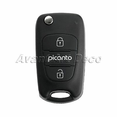 Car Folding Flip Remote Key Fob Shell Case Replacement for KIA Picanto 3 Buttons