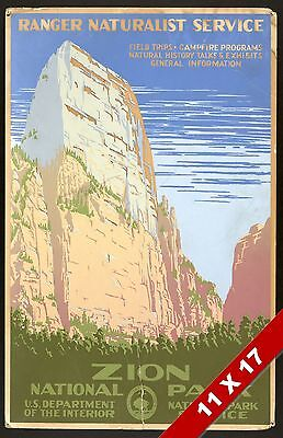 Vintage Zion National Park Utah Zions Art Retro Wpa Government Poster Print