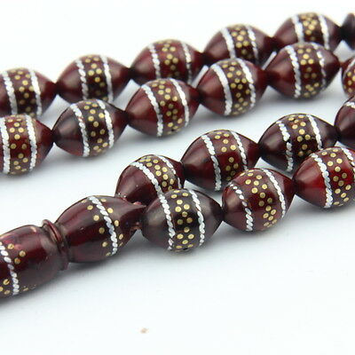 Tibet silver inlay Coca tree 33 pcs Islamic Prayer Beads Misbaha tesbih 103715