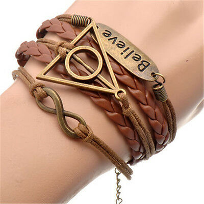 Harry Potter Deathly Hallows Infinity Triangle Wand Stone Believe Charm Bracelet