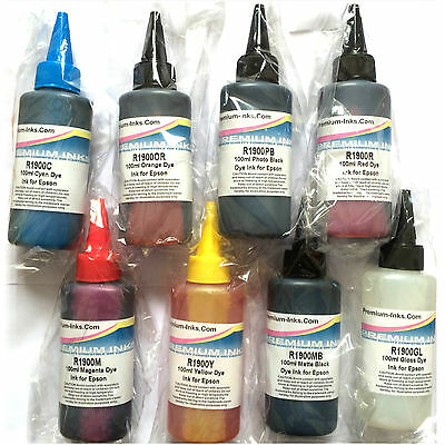 8*100ml DYE PRINTER INK REFILL BOTTLES EPSON STYLUS PHOTO R 800 R1800 NON OEM