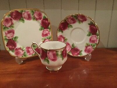 Vintage Royal Albert Old English Rose Trio (Cup Saucer Plate) Quality Bone China