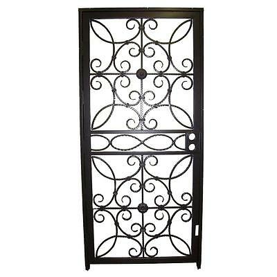 Series Black Iron Security Door Outswing Wrought with Double Bore Lockbox New