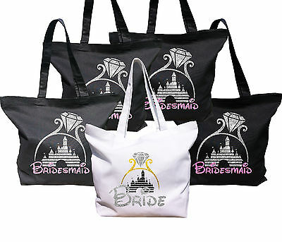 Disney inspired wedding Bride and Bridesmaids bags with glitter castle